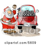 Santa Claus With A Truck Of Coal Ready For Delivery To Bad Boys And Girls On Christmas Clipart Illustration