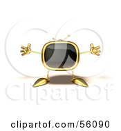 Royalty Free RF Clipart Illustration Of A 3d Golden Television Character Holding His Arms Open Version 5 by Julos