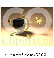 Royalty Free RF Clipart Illustration Of A 3d Golden Television Character Holding His Arms Open Version 1