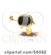 Royalty Free RF Clipart Illustration Of A 3d Golden Television Character Running Version 3