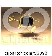 Royalty Free RF Clipart Illustration Of A 3d Golden Television Character Holding His Arms Open Version 3
