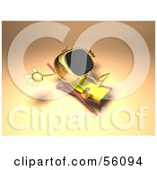 Royalty Free RF Clipart Illustration Of A 3d Golden Television Character Sun Bathing Version 1