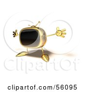 Royalty Free RF Clipart Illustration Of A 3d Golden Television Character Holding His Arms Open Version 4