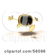 Royalty Free RF Clipart Illustration Of A 3d Golden Television Character Running With His Arms Open