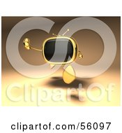 Royalty Free RF Clipart Illustration Of A 3d Golden Television Character Running Version 1 by Julos
