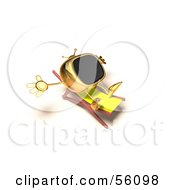 Royalty Free RF Clipart Illustration Of A 3d Golden Television Character Sun Bathing Version 3