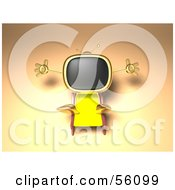 Royalty Free RF Clipart Illustration Of A 3d Golden Television Character Sun Bathing Version 2
