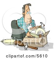 Man With A Box Of Hammers And Toilet Seats Clipart Illustration