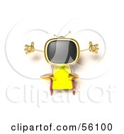 Royalty Free RF Clipart Illustration Of A 3d Golden Television Character Sun Bathing Version 4