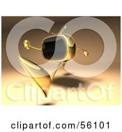 Royalty Free RF Clipart Illustration Of A 3d Golden Television Character Running Version 2