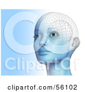 Royalty Free RF Clipart Illustration Of A Futuristic Wire Frame Female Head Looking Up And Left Version 1