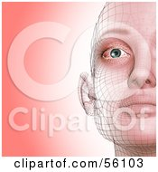 Royalty Free RF Clipart Illustration Of A Half Of A Futuristic Wire Frame Female Head Facing Front Version 2