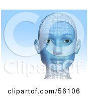 Royalty Free RF Clipart Illustration Of A Futuristic Wire Frame Female Head Looking Forward Version 1