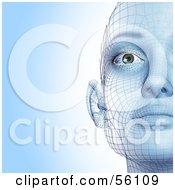 Half Of A Futuristic Wire Frame Female Head Facing Front - Version 1