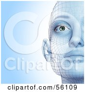 Royalty Free RF Clipart Illustration Of A Half Of A Futuristic Wire Frame Female Head Facing Front Version 1 by Julos