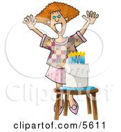 Woman Standing Happily By A Birthday Cake Clipart Illustration