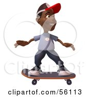 Royalty Free RF Clipart Illustration Of A 3d Black Male Kid Skateboarding Version 1