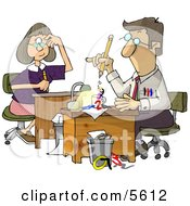 Male And Female Accountants Working At Desks Clipart Illustration