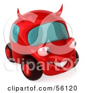 Royalty Free RF Clipart Illustration Of A 3d Red Devil Car Character Version 3