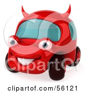 Royalty Free RF Clipart Illustration Of A 3d Red Devil Car Character Version 1