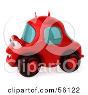 Royalty Free RF Clipart Illustration Of A 3d Red Devil Car Character Version 2