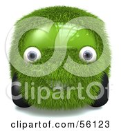 Royalty Free RF Clipart Illustration Of A 3d Grass Car Character Version 1 by Julos