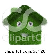 Royalty Free RF Clipart Illustration Of A 3d Grassy House Character Version 1 by Julos