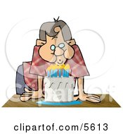 Man Blowing Out Candles On A Birthday Cake Clipart Illustration by Dennis Cox