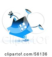 3d Blue Chrome House Character Doing A Cartwheel Version 1 by Julos
