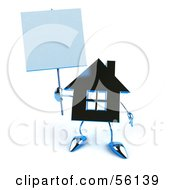 3d Blue Chrome House Character Holding Up A Blank Sign Version 2 by Julos