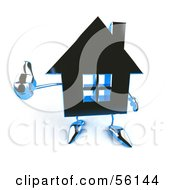 3d Blue Chrome House Character Giving The Thumbs Up Version 3 by Julos