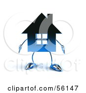 3d Blue Chrome House Character Facing Front by Julos