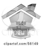 Royalty Free RF Clipart Illustration Of A 3d Chrome House With Windows Version 6