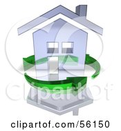 3d Chrome Home Being Circled By Green Arrows Version 5 by Julos