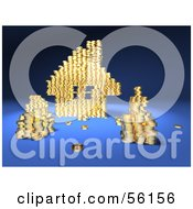 Royalty Free RF Clipart Illustration Of A 3d House Made Of Golden Coin Stacks Version 4