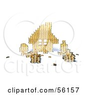 Royalty Free RF Clipart Illustration Of A 3d House Made Of Golden Coin Stacks Version 6