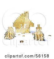 Royalty Free RF Clipart Illustration Of A 3d House Made Of Golden Coin Stacks Version 8