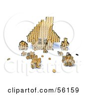 Royalty Free RF Clipart Illustration Of A 3d House Made Of Golden Coin Stacks Version 7