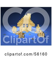 Royalty Free RF Clipart Illustration Of A 3d House Made Of Golden Coin Stacks Version 2