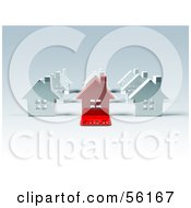 Royalty Free RF Clipart Illustration Of A 3d Red House With A Sold Slab On The Front Version 3