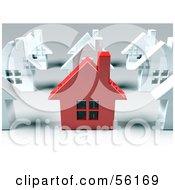 Royalty Free RF Clipart Illustration Of A 3d Red Metal Home Standing Out In A Neighborhood Of White Houses Version 1