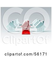 Royalty Free RF Clipart Illustration Of A 3d Red House With A For Sale Slab On The Front Version 2