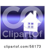 Royalty Free RF Clipart Illustration Of A 3d White Home On A Textured Purple Background Version 2