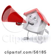 Royalty Free RF Clipart Illustration Of A 3d White Clay Home Character Using A Megaphone Version 3
