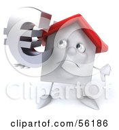 Royalty Free RF Clipart Illustration Of A 3d White Clay Home Character Holding A Euro Symbol Version 2