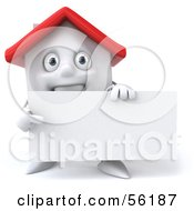 3d White Clay Home Character Holding A Blank Business Card Version 2 by Julos
