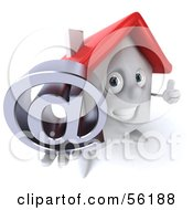 Royalty Free RF Clipart Illustration Of A 3d White Clay Home Character Holding An At Symbol Version 2