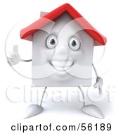 Royalty Free RF Clipart Illustration Of A 3d White Clay Home Character Giving The Thumbs Up Version 2