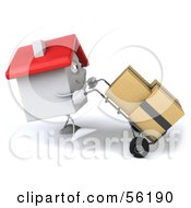 Royalty Free RF Clipart Illustration Of A 3d White Clay Home Character Moving Boxes On A Dolly Version 3