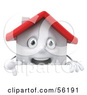 3d White Clay Home Character Pointing Down And Standing Behind A Blank Sign by Julos